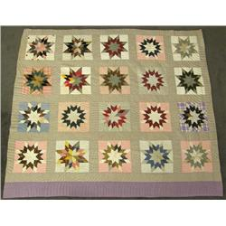 Antique Hand Stitched 8 Pointed Star Quilt