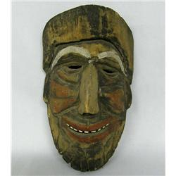 19th Century Michoacan Carved Wood Mask