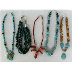 Five Turquoise, Coral and Stone Necklaces