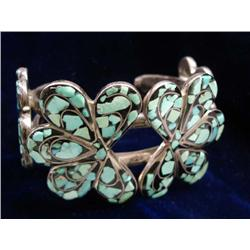 Native American Navajo Turquoise and Jet Inlay Silver Bracelet
