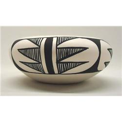 Native American Isleta Pueblo Black & White Bowl