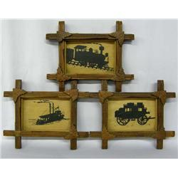 3 Antique Hand Carved Frames with Silhouettes