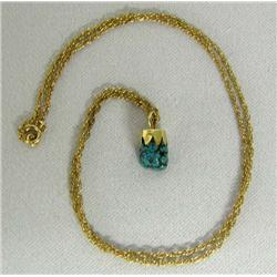 Native American 14K Gold Turquoise Necklace