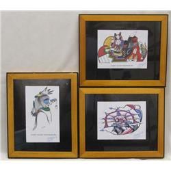 3 Native American Hopi Signed Hopi Prints by artist Gary Allen