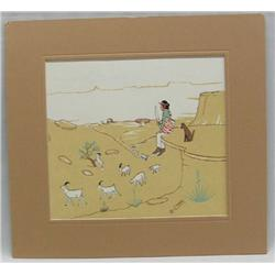 Matted Original Native American Navajo Silk Screen by Robert Chee
