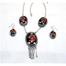 Native American Zuni Necklace &  Earrings by Estate