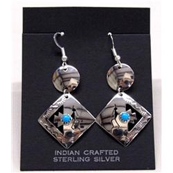 Native American Navajo Silver Earrings by Sandoval