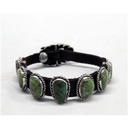 Native American Navajo Green Turquoise Concho Bracelet by Martinez