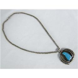 Native American Navajo Silver Pendant Necklace