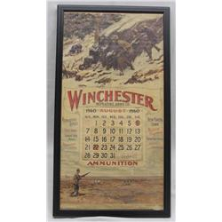 Framed 1960 Winchester Calendar behind glass