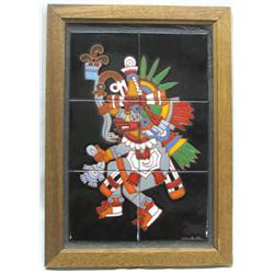 Handpainted Mayan God Ehecatl Tile Art by Michele