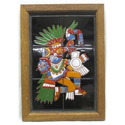 Handpainted Aztec God Tonatiuh Tile Art by Michele