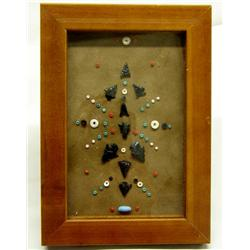 9 Framed Arrowhead Display Obsidian Points & Beads