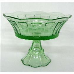 Green Glass Pedestal Bowl