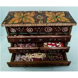 Carved Jewelry Box Filled with Necklaces and More