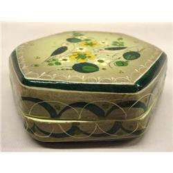 Mexican Tonala Hand Painted Lidded Box By Sermel
