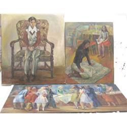 3 Santa Fe artisl McCrossen Paintings