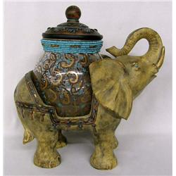 Elephant with Beaded and Painted Jar