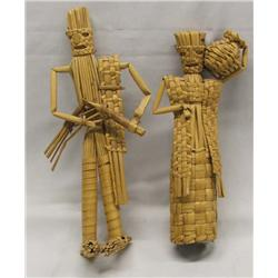 2 Vintage Mexican Straw Basketry Man & Woman