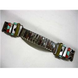 Native American Zuni Silver Inlay Watch Band