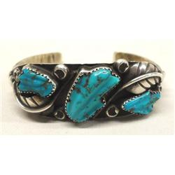 Native American Zuni Silver Turquoise Bracelet