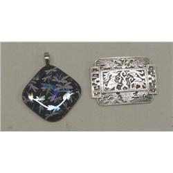 Dichroic Glass Pendant And Silver Pin