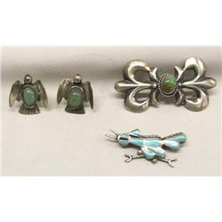 Native American Zuni Silver Pins, Earrings