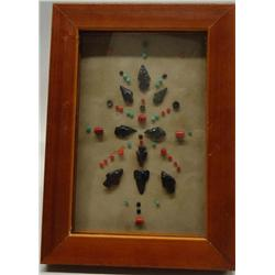 Native American Obsidian Arrowhead Display