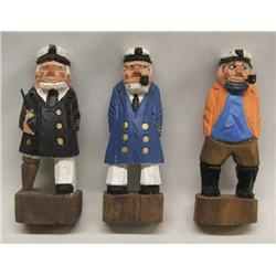 3 Carved Wood Fishermen
