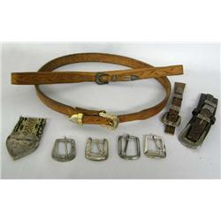 Collection of Cowboy Buckles and 2 Hat Bands