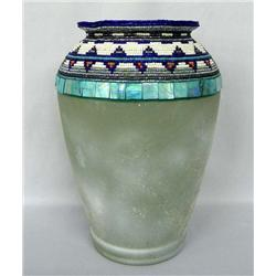 Glass Vase Hand Beaded by Kills Thunder