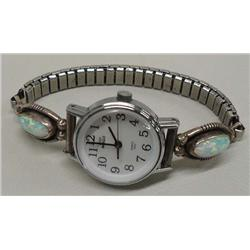 Native American Navajo Silver Opal Watch Band