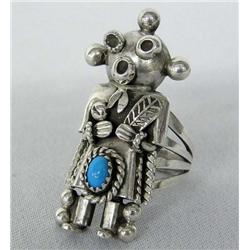 Native American Navajo Sterling Mudhead Kachina Ring w/Turquoise