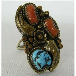 Native American Navajo Turquoise Coral  Ring by Lee
