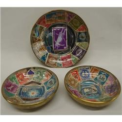 3 Small Brass Bowls With Israeli Stamps