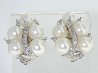 Tiffany Co 14k White Gold Diamond And Pearl Earrings Loading Zoom