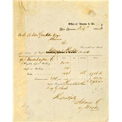San Francisco,CA - February 8 ,1854 - Adams & Co Assay Receipt No. 416 :