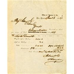 San Francisco,CA - January 3, 1855 - Adams & Co Assay Receipt No. 169 :