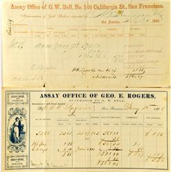 San Francisco,CA - September 26, 1863 - Bell, G. W. Assay Office Memorandum of Deposit :