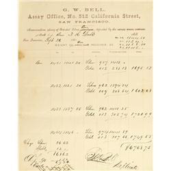 San Francisco,CA - October 27, 1863 - Bell, G. W. Assay Office Memorandum of Deposit :
