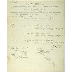 Virginia City,NV - Storey County - July 12, 1864 - Bell, G.W. Memorandum Assay of Retorted Silver Am