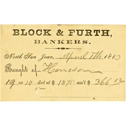 San Juan,CA - Nevada County - April 11, 1860 - Block & Furth Bankers Business Card :