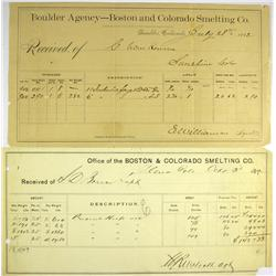 Boulder,CO - Boulder County - 1870, 1882 - Boulder Agency Boston Colorado Smelting Co. Assay Receipt