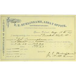 Denver,CO - Denver County - August 18, 1879 - Burlingame, E.E.  Assay Office and Chemical Laboratory