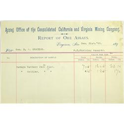 Virginia,NV - Storey County - December 31, 1893 - California and Virginia Mining Co Report of Ore As