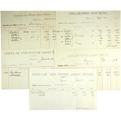 Virginia City,NV - Storey County - 1884 - 1890 - Chollar and Potosi Assorted Assay Forms :