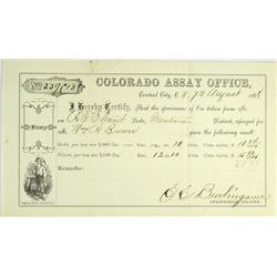 Central City,CO - Clear Creek and Giplin Counties - August 12, 1868 - Colorado Assay Office Assay Re