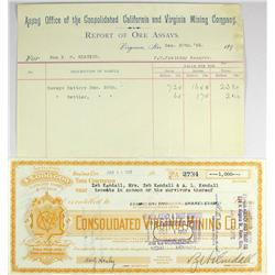 Virginia City,NV - Storey County - Decmeber 30, 1893 - Consolidated Virginia Mining Company Ore Assa