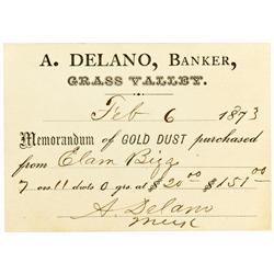 Grass Valley,CA - Nevada County - Feb 6, 1873 - Delano, A. Assay Receipt :