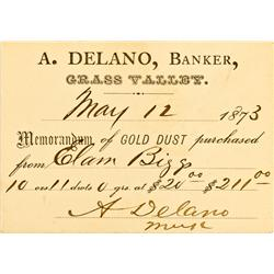 Grass Valley,CA - Nevada County - May 12, 1867 - Delano, A. Banker, Memorandum of Gold Dust Purchase